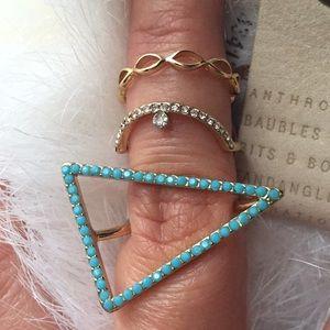 BNWT Anthropologie Titania Ring set of 3 Size 6
